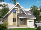 Одноэтажный дом с мансардой, гаражом и террасой